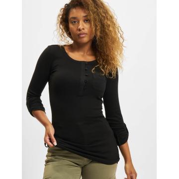 Urban Classics Maglietta a manica lunga Ladies Long Rib Pocket Turnup nero