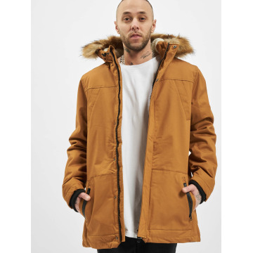Urban Classics Manteau Heavy Cotton Imitation Fur brun