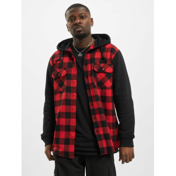Urban Classics overhemd Hooded Checked Flanell Sweat Sleeve rood