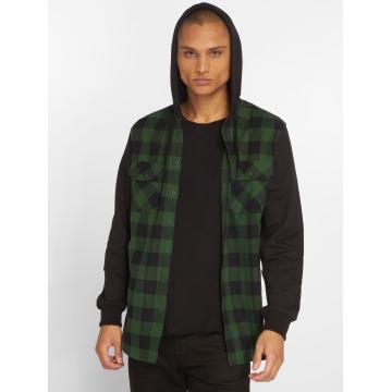 Urban Classics overhemd Hooded Checked Flanell zwart
