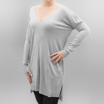 Urban Classics Pullover Ladies Fine Knit Oversize V-Neck grau