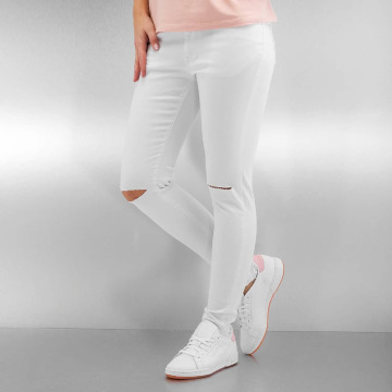 Urban Classics Straight Fit Jeans Ladies Cut Knee white