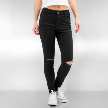 Urban Classics Straight fit jeans Ladies Cut Knee zwart