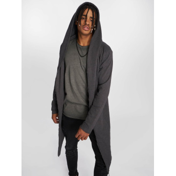 Urban Classics Strickjacke Long Hooded grau