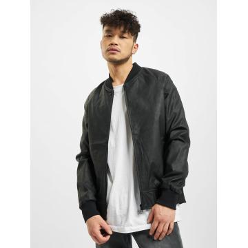Urban Classics Veste & Blouson en cuir Imitation Leather Raglan noir