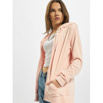 Urban Classics Zip Hoodie Ladies Velvet rose