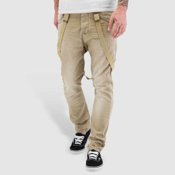 VSCT Clubwear Jean coupe droite Brad Suspenders beige