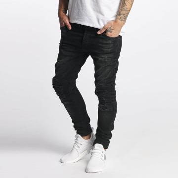 VSCT Clubwear Slim Fit Jeans Knox Kneecut Leahter Kneepatch zwart