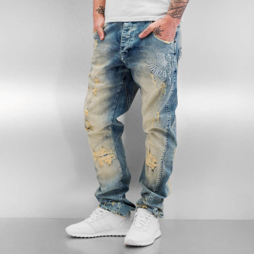 Yakuza Jean carotte antifit Skeleton Anti Fit bleu