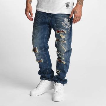Yakuza Loose Fit Jeans Skeleton modrý