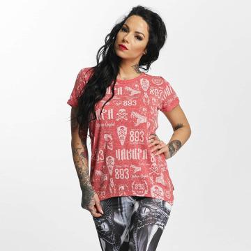 Yakuza T-Shirt Allover Label Boyfriend rot