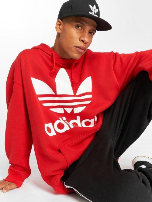 adidas originals Bluzy z kapturem Tref Over Hood czerwony