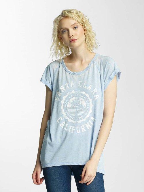 Brave Soul T-Shirt Burn Out Crew Neck blau