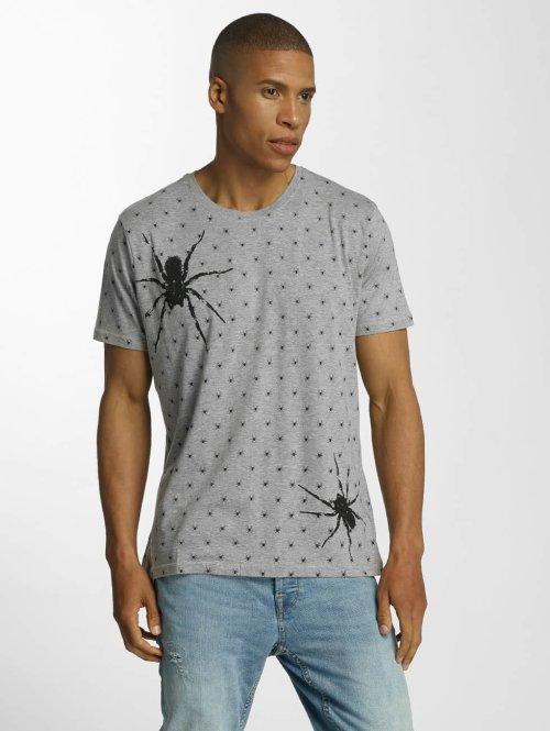 Brave Soul T-Shirt All Over Spider Print grau