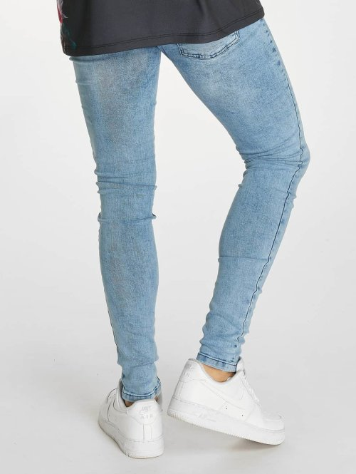 Criminal Damage Skinny Jeans Notting Spray blau