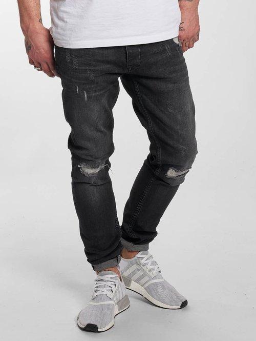 DEF Slim Fit Jeans Destroyed grau