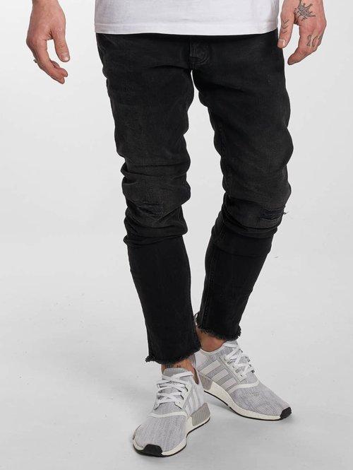 DEF Slim Fit Jeans Fray zwart