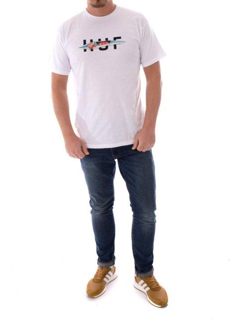 HUF T-Shirt Og Logo Ripped Ss weiß