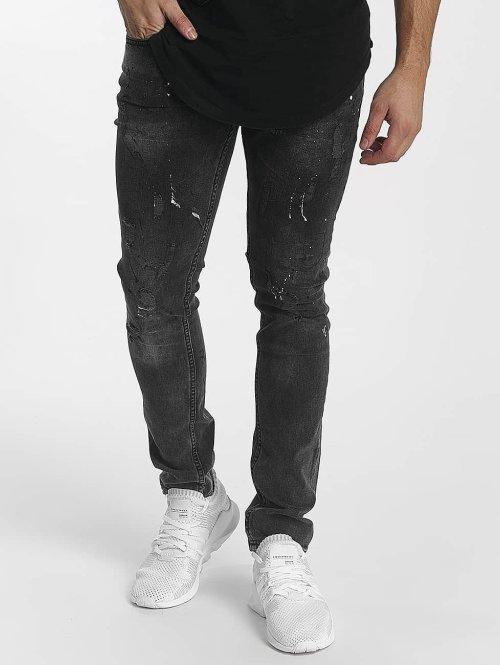 John H Slim Fit Jeans Diagonal Splatters zwart