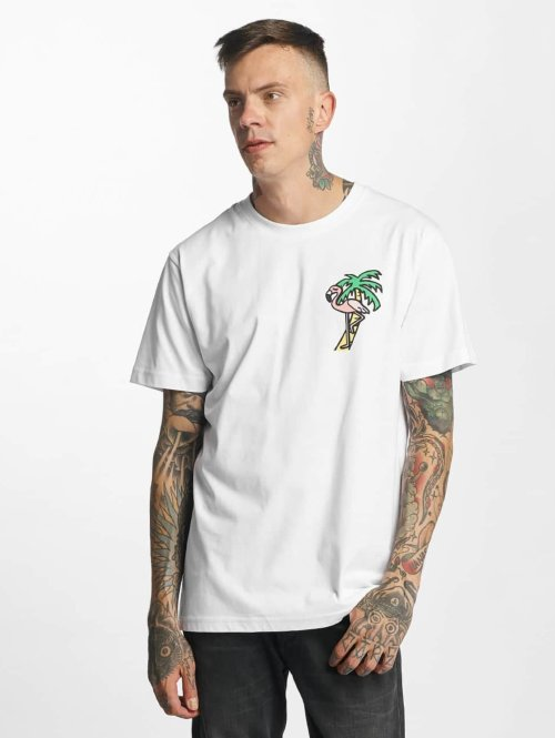 Mister Tee T-Shirt Flamingo weiß