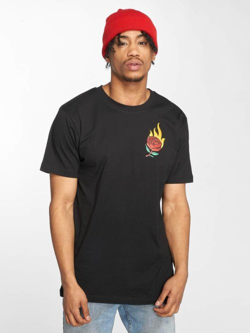 Mister Tee t-shirt Burning Rose zwart