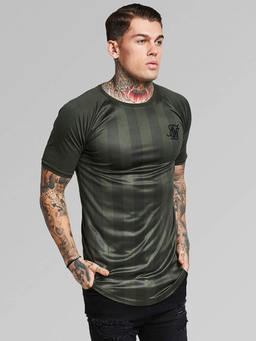 Sik Silk T-paidat Shadow Stripe khakiruskea