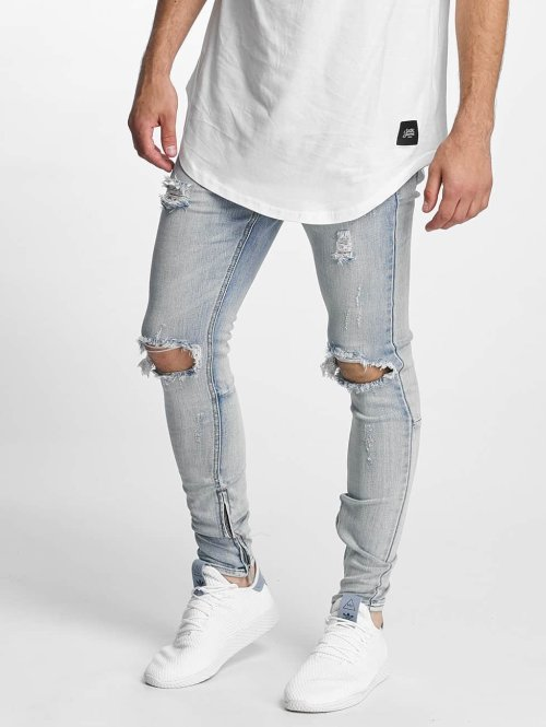 Sixth June Skinny jeans Destroyed Washed blauw
