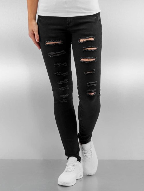 Sixth June Skinny Jeans Destroyed schwarz