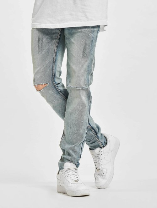 Sixth June Slim Fit Jeans Destroyed Washed blauw