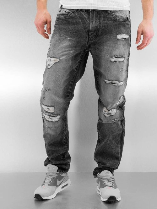Southpole Straight Fit Jeans Ripped Slim schwarz