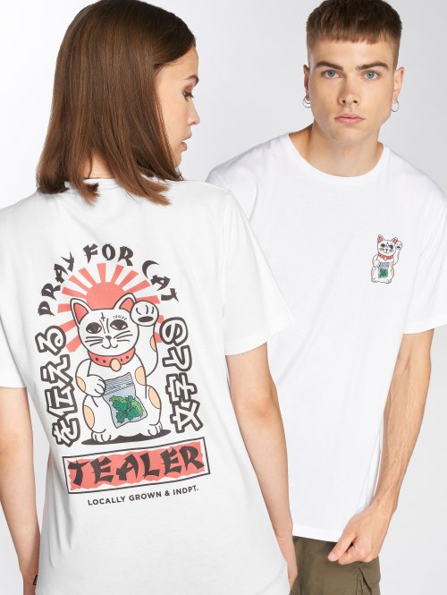 Tealer Camiseta Pray For Cat blanco