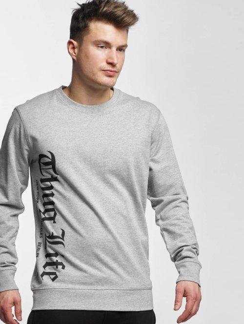 Thug Life Basic Pullover Old Engish grau