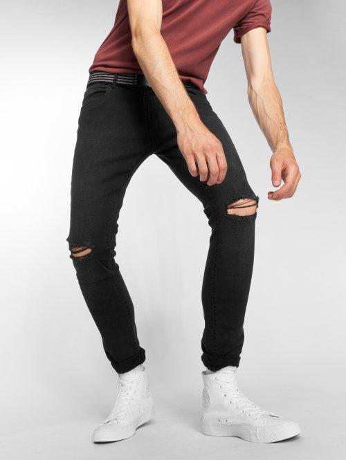 Urban Classics dżinsy przylegające Knee Cut czarny