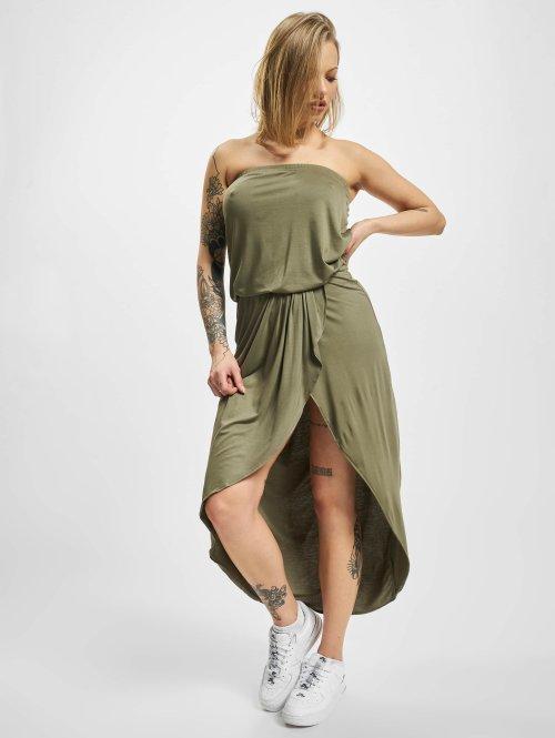 Urban Classics jurk Ladies Viscose Bandeau olijfgroen