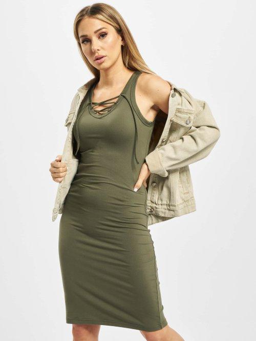 Urban Classics jurk Lace Up olijfgroen