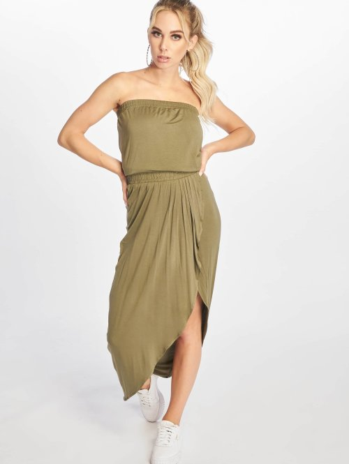 Urban Classics Kleid Ladies Viscose Bandeau olive
