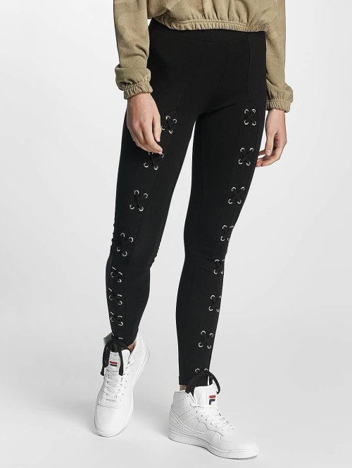 Urban Classics Legging Laced Up Front schwarz