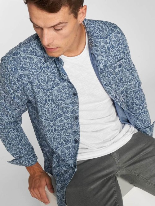 Urban Classics overhemd Printed Flower Denim blauw