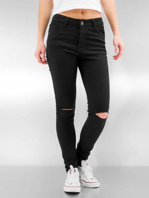 Urban Classics Straight Fit Jeans Ladies Cut Knee schwarz