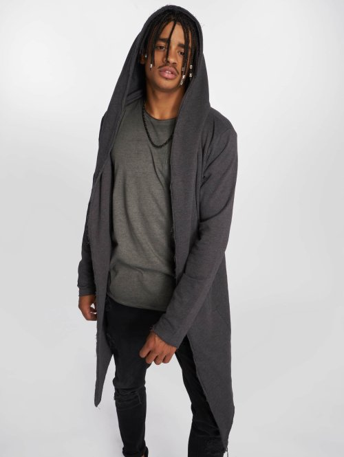 Urban Classics Strickjacke Long Hooded grau
