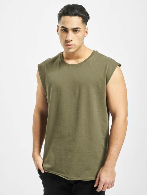 Urban Classics Tank Tops Open Edge Sleeveless oliwkowy