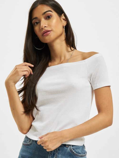 Urban Classics Tops sans manche Off Shoulder Rib blanc