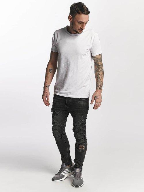 VSCT Clubwear Slim Fit Jeans Thor Biker Kneecut Slim grau