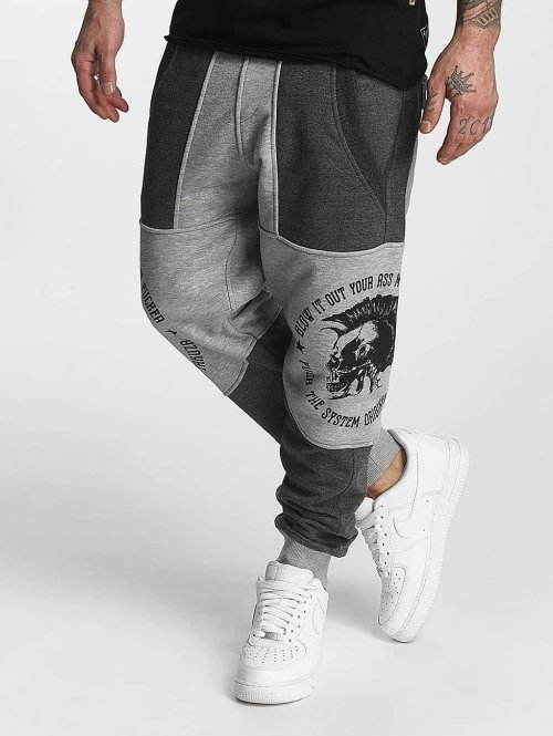 Yakuza Jogginghose Punx Two Face Antifit grau