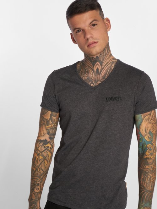 Yakuza t-shirt Basic Line Distressed V-Neck grijs