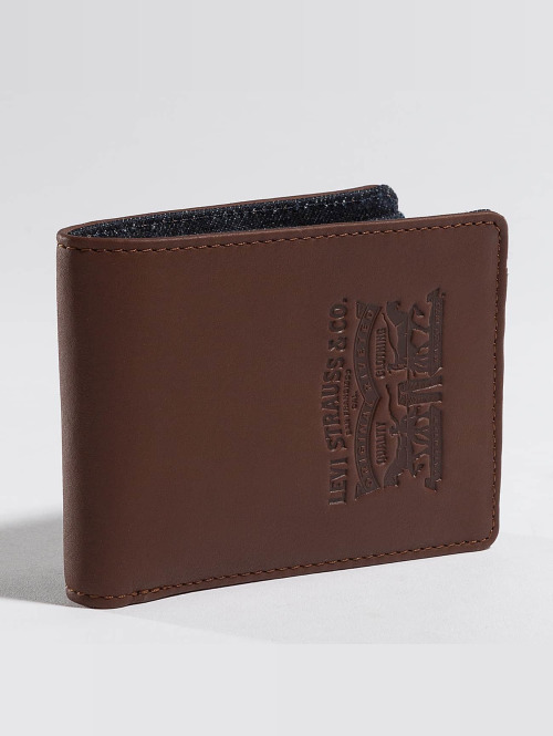 Levi's® portemonnee Leather & Denim Bifold bruin