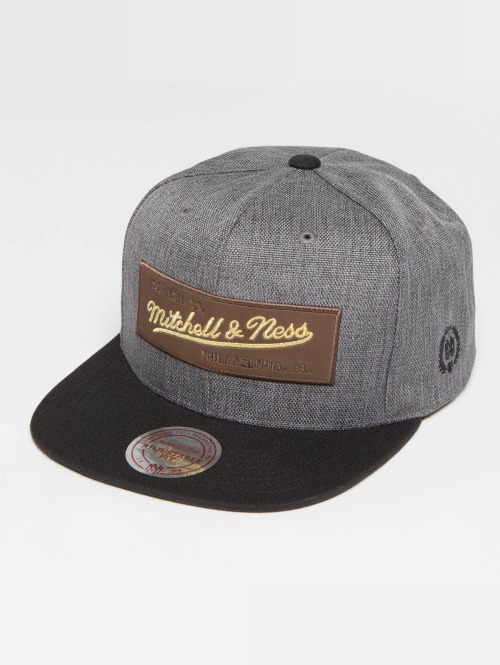 Mitchell & Ness Snapback Cap The Leather And Golden Own Brand Patch grau