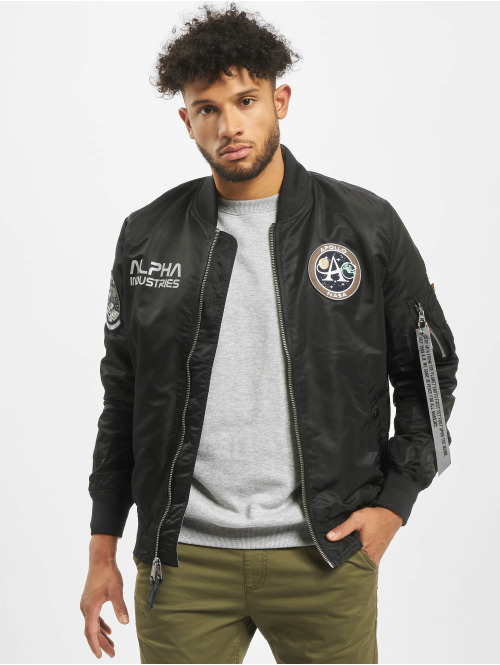 Alpha Industries Bomberjacke Ma-1 Moon Landing Rev schwarz