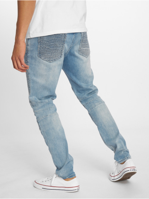 Cayler & Sons Straight Fit Jeans Biker Distressed blau