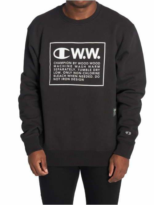 Champion Pullover by Wood Wood Mike Crewneck Sweatshirt schwarz